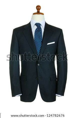 Male clothinh suit on stand isolated white - stock photo