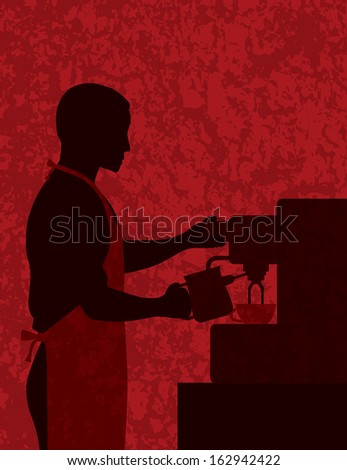 Male Coffee Barista Silhouette Making Espresso and Steaming Milk with Espresso Machine on Red Textured Background Raster Illustration - stock photo
