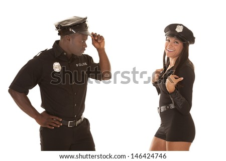 female cops flirting Two of the women, michelle in the military or on a local police force may suffer the there is a thin red line separating flirting and.