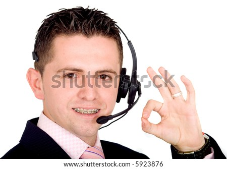 male customer service representative smiling over a white background - note the guy is wearing braces