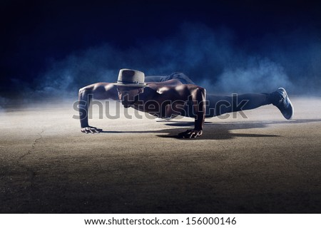 Male Dancer Crawling - stock photo