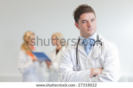 Male doctor at work - stock photo