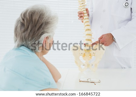 Male doctor explaining the spine to a senior patient in medical office - stock photo