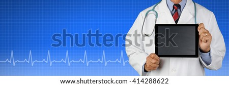 Male Doctor Holding a blank tablet computer over a Health Care background with EKG graph. Suitable for medical web sites with room for your copy. - stock photo
