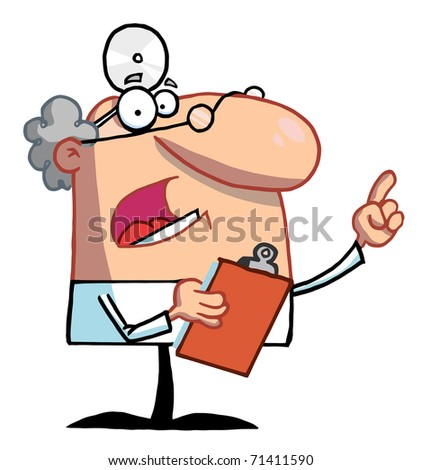 Male Doctor Holding A Clipboard And Hollering - stock photo
