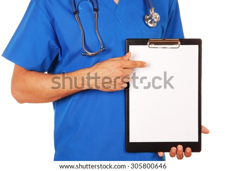 Male doctor in blue uniform with stethoscope showing blank clipboard to write it on your personal message or advice, you can place your text in copy space; isolated over white background - stock photo