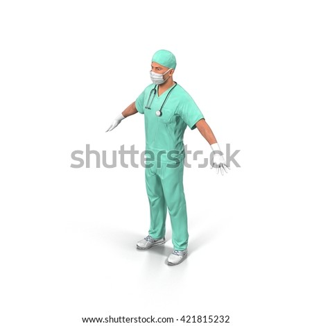Male Doctor in medical mask isolated on white. 3D Illustration - stock photo