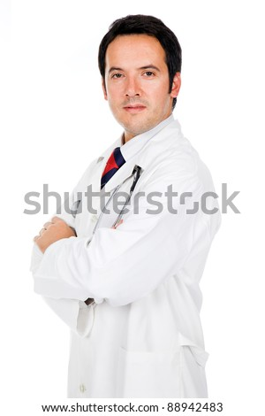 male doctor portrait, isolated on white background - stock photo