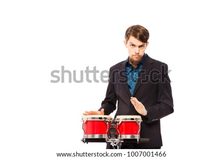 Male drummer isolated on a white background