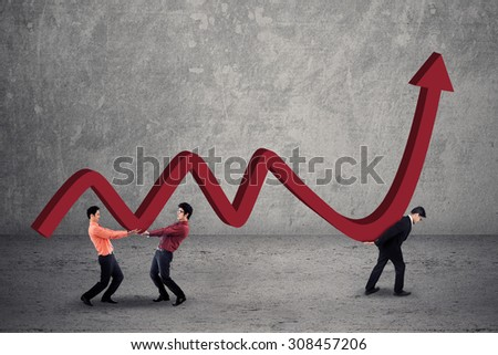 Male entrepreneurs carrying financial statistics with upward arrow, symbolizing business growing up