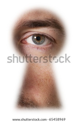 Male eye, looking through a blurry keyhole with white outline - stock photo