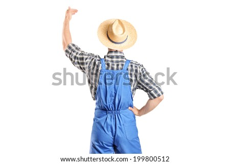 Male farmer gesturing with hand isolated on white background, rear view