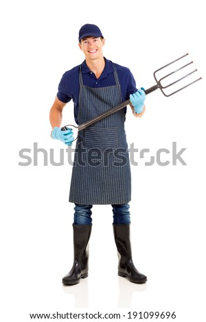 male farmer holding a garden fork isolated on white background - stock photo
