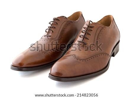 Male fashion shoes on white - stock photo