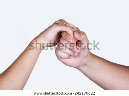 Male Female hands handshake isolated on white background. - stock photo