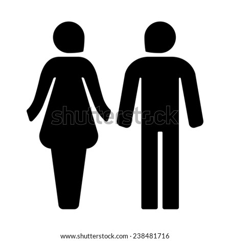 male female icons for restroom black icon - stock photo