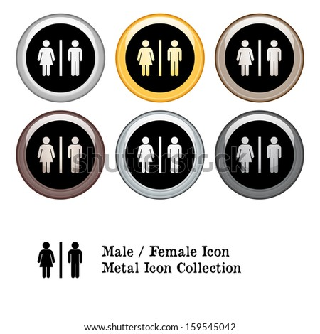 Male / Female Restroom Figures Icon Metal Icon Set.  Raster version. - stock photo