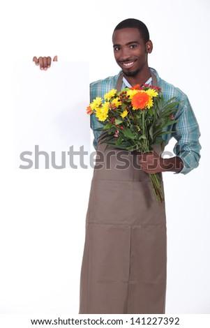 Male florist - stock photo