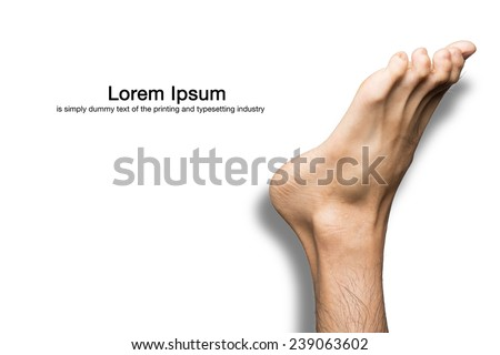 male foot isolated on white with clipping path