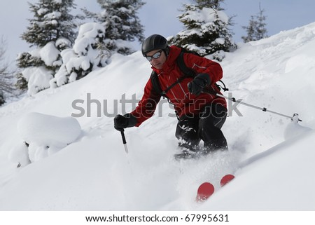 Male freerider is skiing downhill along fir trees - stock photo