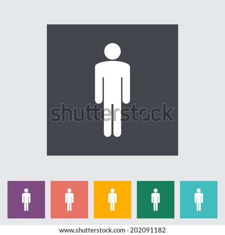 Male gender sign. Single flat icon on the button.  - stock photo