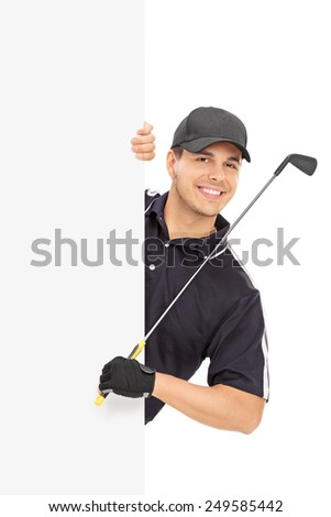 Male golfer posing behind a blank panel isolated on white background - stock photo
