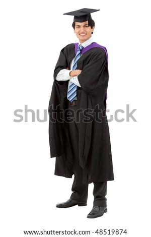 male graduation portrait smiling and standing over a white background - stock photo