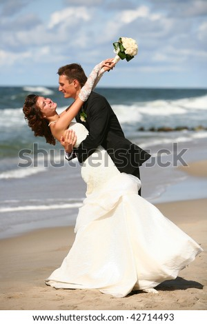male groom and female bride - stock photo
