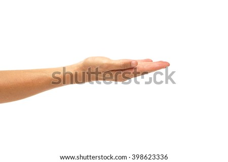 male hand begging isolated - stock photo