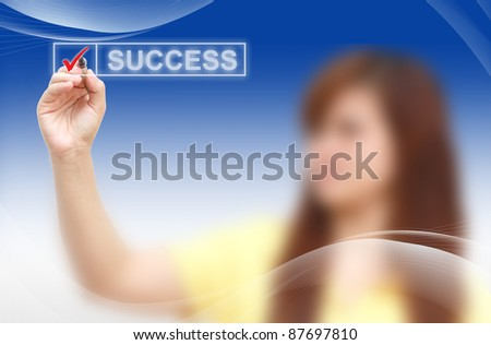male hand checking success list - stock photo