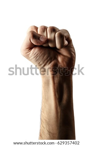 Male hand clenched in fist on white