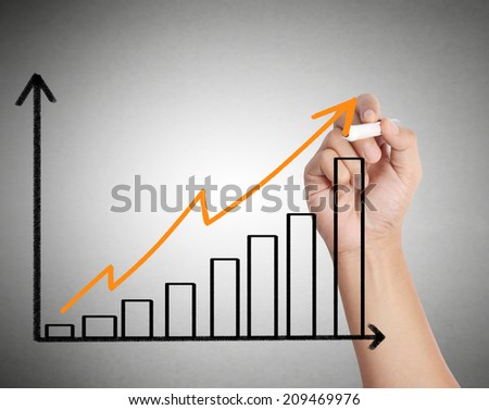 Male hand drawing a chart isolated show