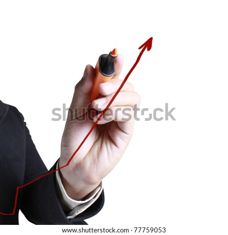Male hand drawing a chart on white background - stock photo