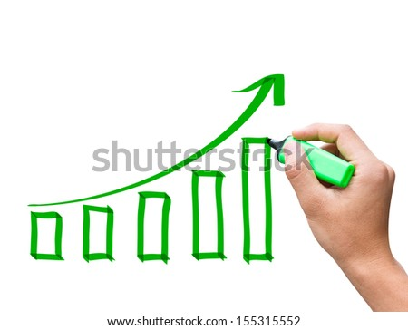 Male hand drawing a growth chart - stock photo
