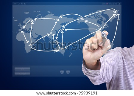 Male hand drawing a social network scheme on touch screen interface - stock photo