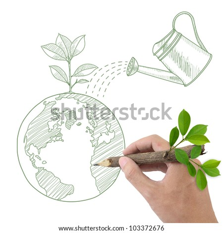 Male hand drawing Globe with green plant and watering can. - stock photo