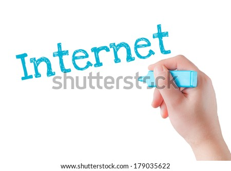 Male hand drawing Internet flow chart on transparent wipe board. - stock photo