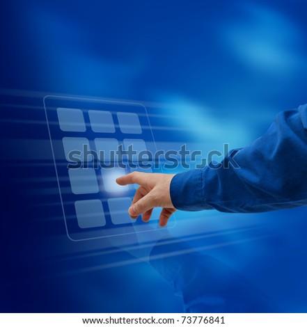 Male hand finger pushing virtual keypad button - stock photo