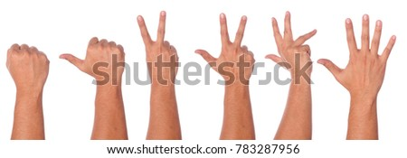Male hand gesture and sign collection isolated on white background with clipping path.