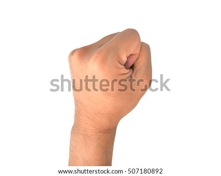 Male hand gesture in a fist shape isolated on the white background. Meaning to aggressive, protest, strong, revolution, angry, victory, rebel, force, violence and strike.