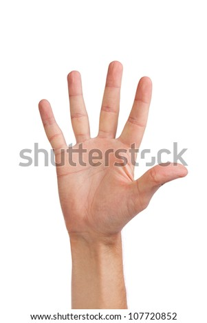 Male hand gesture number five closeup isolated on a white background - stock photo