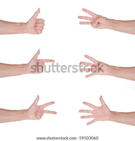 Male hand gestures set, isolated on white - stock photo