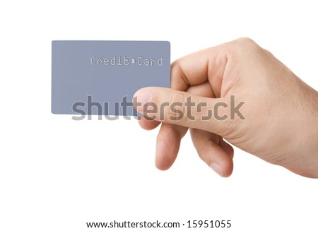 Male hand giving gray colored credit card without name or numbers on, isolated on white - stock photo