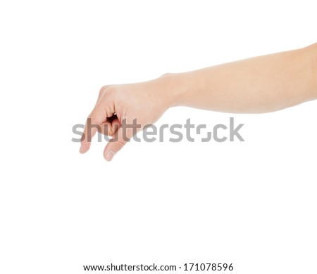 male hand grabbing for something isolated on white - stock photo