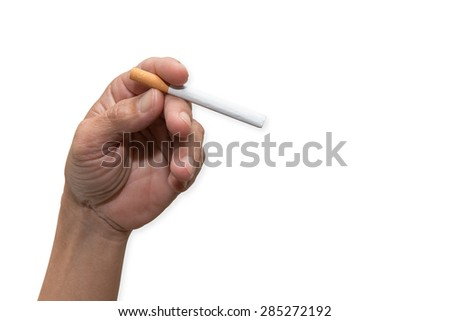 male hand holding a cigarette. Isolated on a white background.