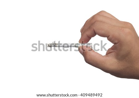 Male hand holding a cigarette, Isolated on a white background.