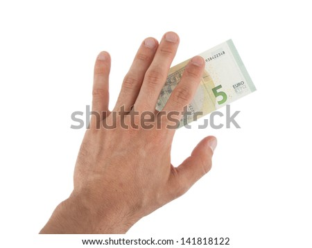 Male hand holding a new 5 Euro bills, isolated on white