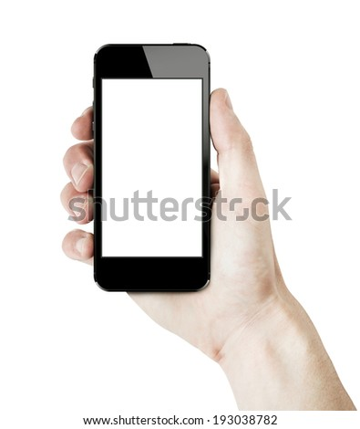 Male hand holding a new smart phone with white blank screen. isolated on white. - stock photo