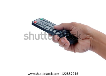 male hand holding a remote controller isolated on white background - stock photo