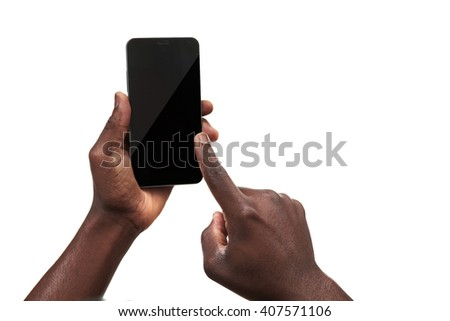 Male hand holding a smartphone isolated on white - stock photo